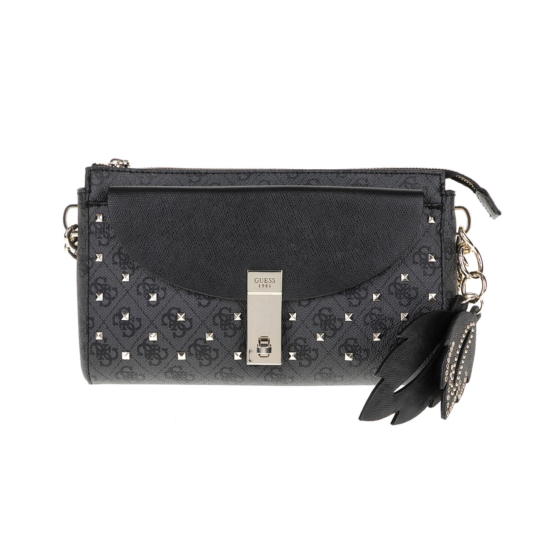 GUESS – Γυναικεία τσάντα ώμου NISSANA GUESS γκρι-μαύρη 1571403.0-0080