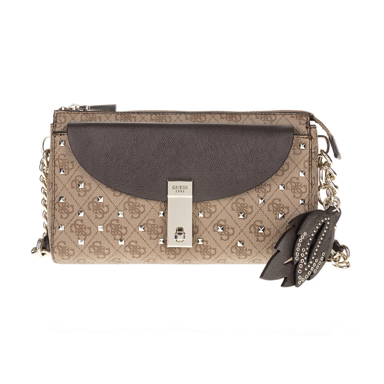 GUESS – Γυναικεία τσάντα ώμου NISSANA GUESS μπεζ-καφέ 1571403.0-00K4