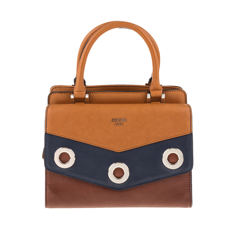 GUESS - Γυναικεία τσάντα χειρός DINAH GUESS καφέ-μπλε γυναικεία αξεσουάρ τσάντες σακίδια χειρός