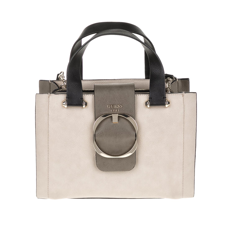 GUESS – Γυναικεία τσάντα MOONEY GUESS γκρι-μπεζ 1571434.0-0086