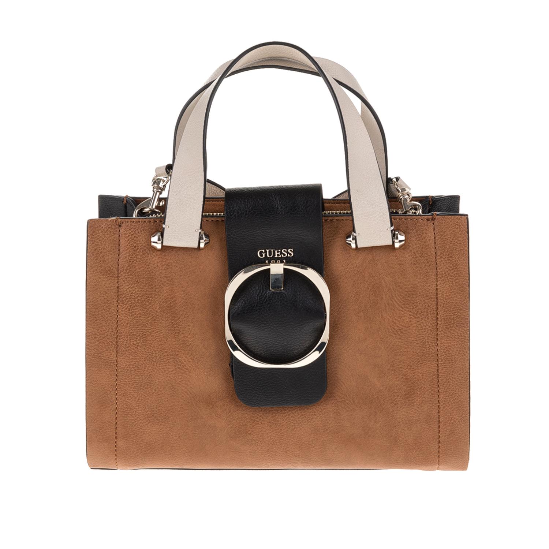 GUESS - Γυναικεία τσάντα χειρός MOONEY GUESS καφέ γυναικεία αξεσουάρ τσάντες σακίδια χειρός