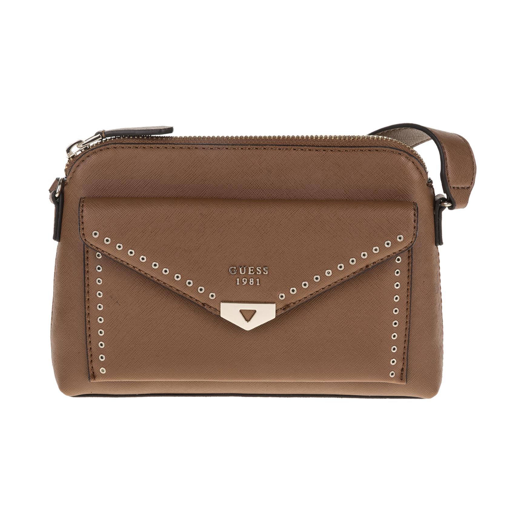 GUESS – Γυναικεία τσάντα ώμου Guess LOTTIE CROSSBODY MESSENGER καφέ