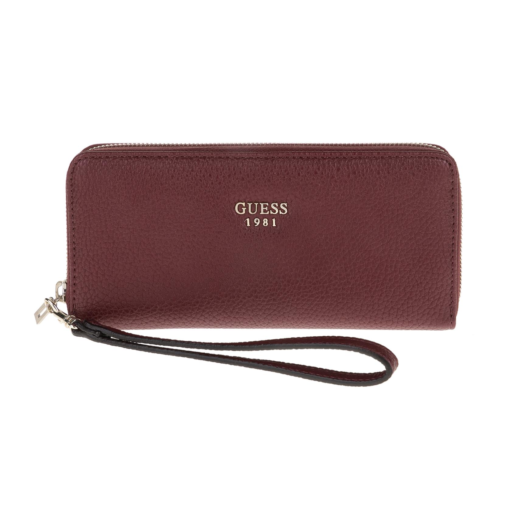 GUESS – Γυναικείο πορτοφόλι Guess SHAILENE LARGE ZIP AROUND μπορντώ