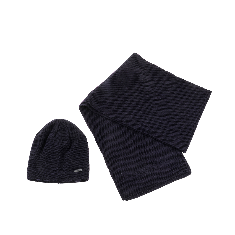 SSEINSE - Ανδρικό σετ σκούφος-κασκόλ SSEINSE μπλε ανδρικά αξεσουάρ καπέλα σκούφοι
