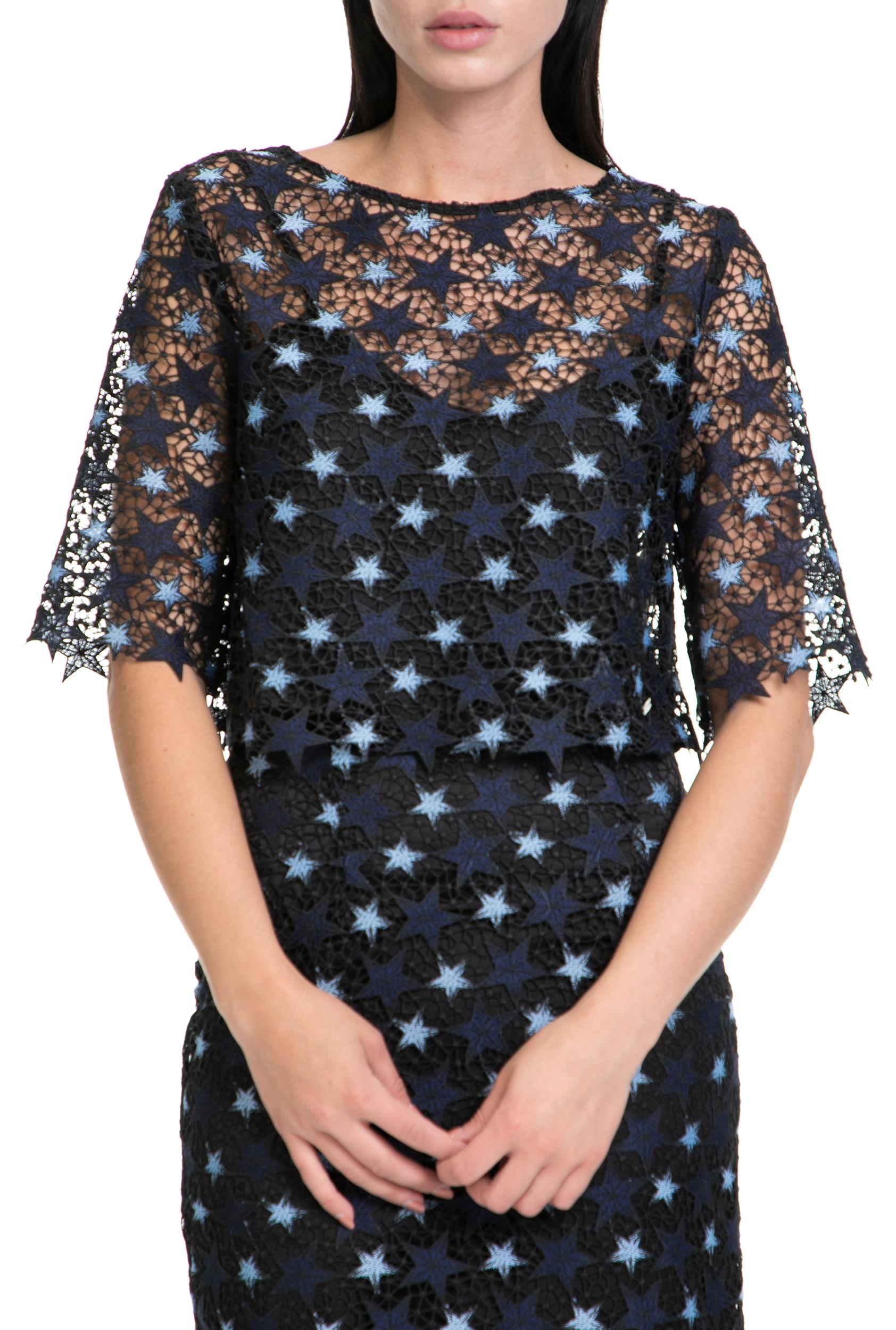 e6729ab9da4f GUESS - Γυναικεία μπλούζα LEA GUESS μαύρη-μπλε ⋆ pressmedoll.gr