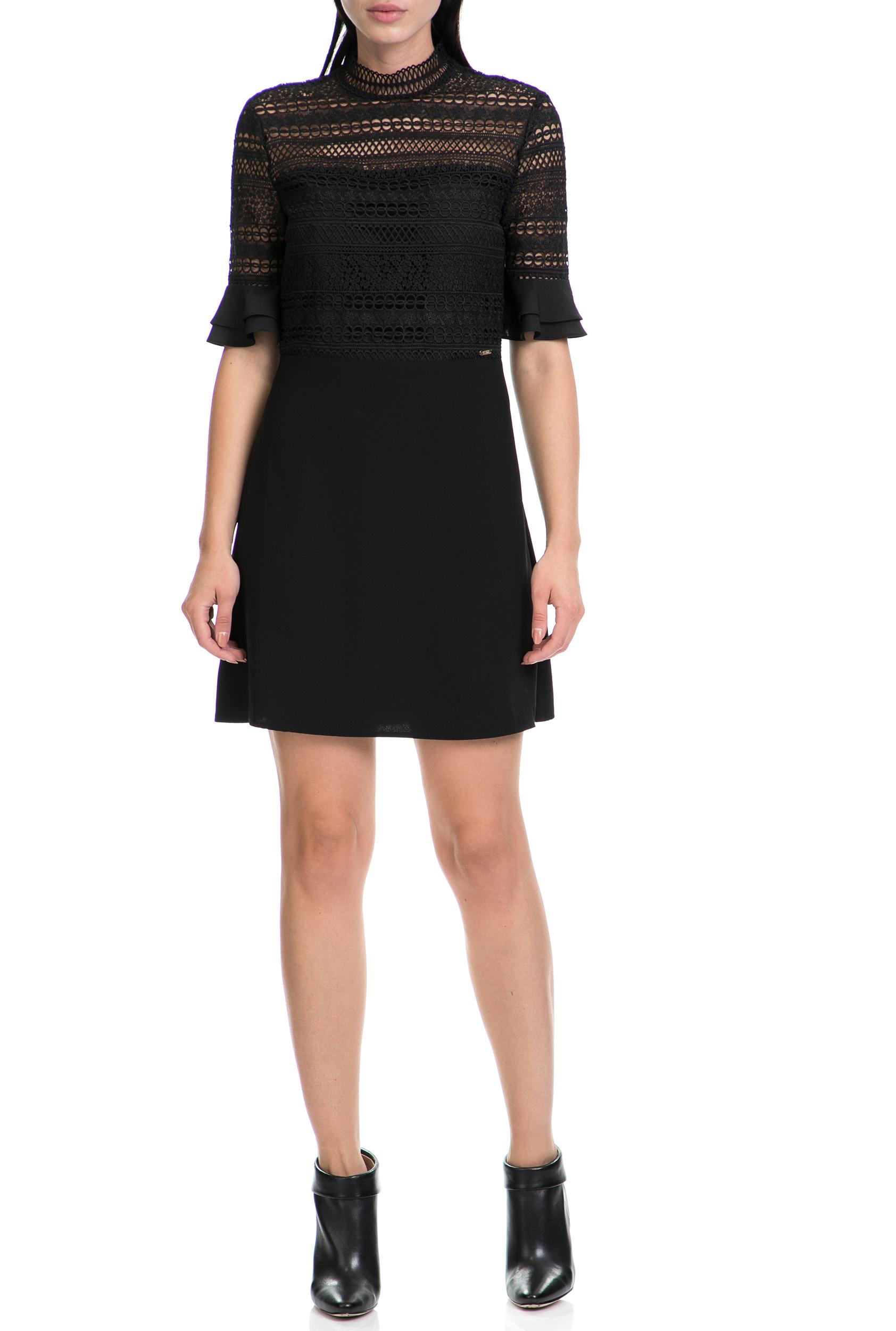 GUESS - Γυναικείο φόρεμα EDITH GUESS μαύρο γυναικεία ρούχα φορέματα μίνι