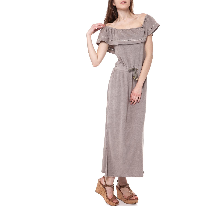 MYMOO - Γυναικείο φόρεμα MYMOO μπεζ γυναικεία ρούχα φορέματα μάξι