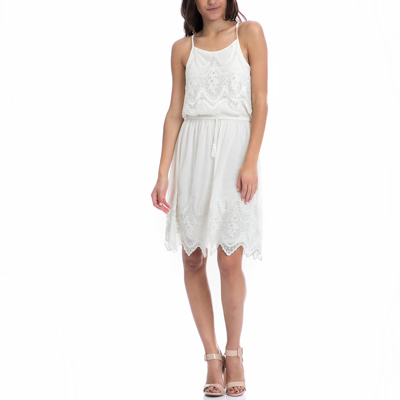 MOTIVI - Γυναικείο φόρεμα MOTIVI εκρού γυναικεία ρούχα φορέματα μίνι