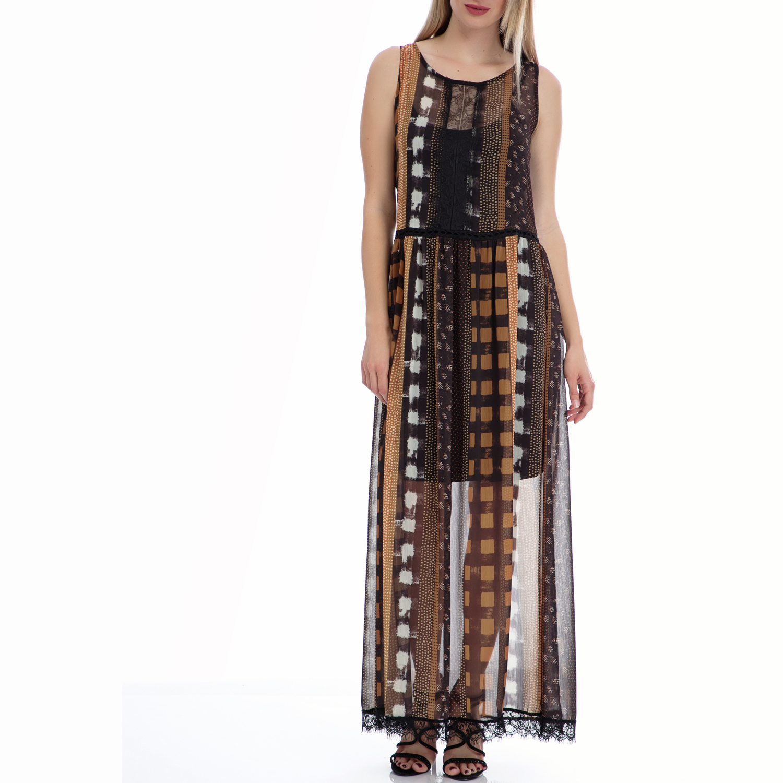 MOTIVI - Γυναικείο φόρεμα MOTIVI μαύρο-μπεζ γυναικεία ρούχα φορέματα μάξι