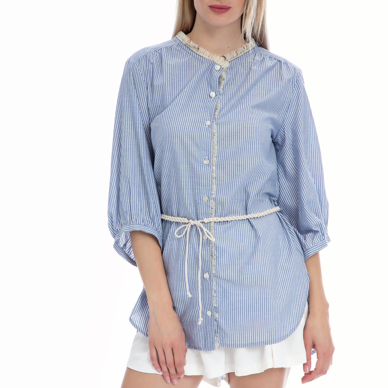 VINTAGE SUGAR - Γυναικείο πουκάμισο Vintage Sugar μπλε-λευκό γυναικεία ρούχα πουκάμισα μακρυμάνικα