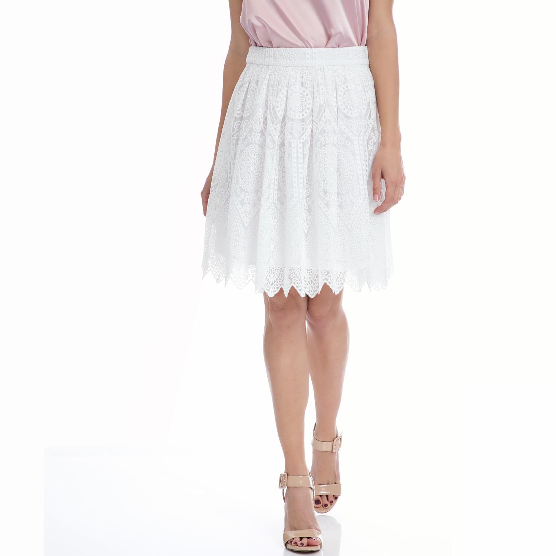 MY TIFFANY - Φούστα MY TIFFANY λευκή γυναικεία ρούχα φούστες μέχρι το γόνατο