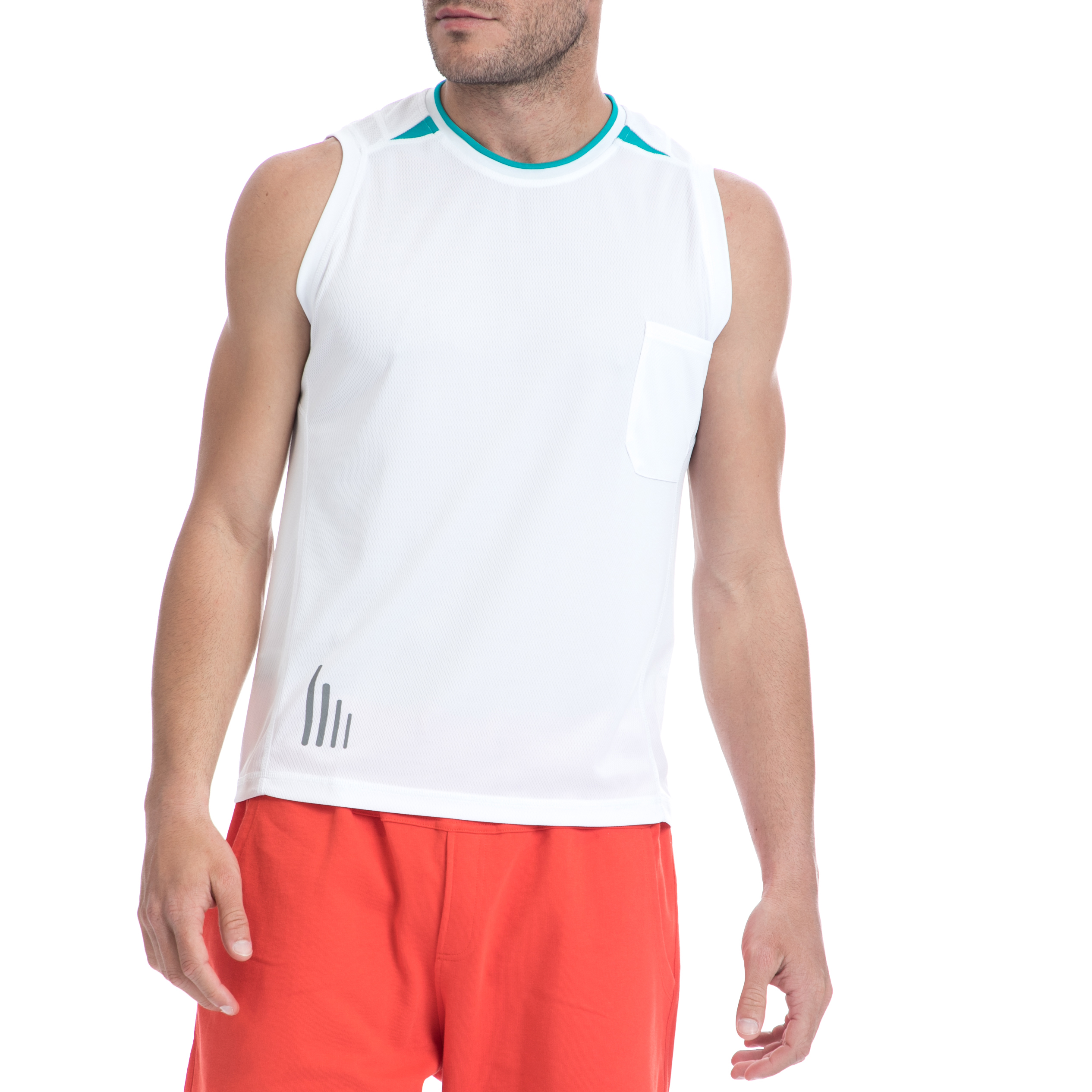 BODYTALK - Ανδρική αμάνικη μπλούζα BODYTALK λευκή ανδρικά ρούχα αθλητικά t shirt