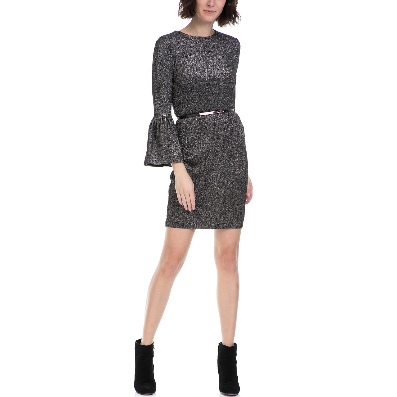 TED BAKER - Γυναικείο φόρεμα HANNEH TED BAKER μαύρο-ασημί γυναικεία ρούχα φορέματα μίνι