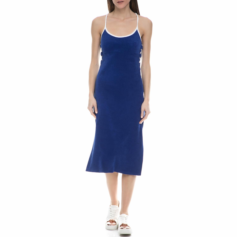 JUICY COUTURE - Γυναικείο midi φόρεμα πετσετέ Juicy Couture μπλε - λευκό γυναικεία ρούχα φορέματα μέχρι το γόνατο