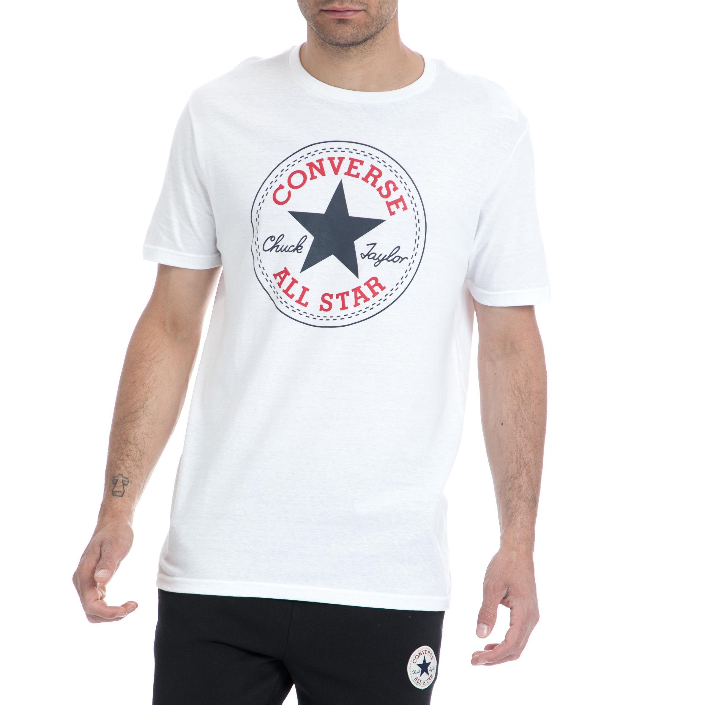 CONVERSE - Ανδρική μπλούζα Converse λευκή ανδρικά ρούχα αθλητικά t shirt