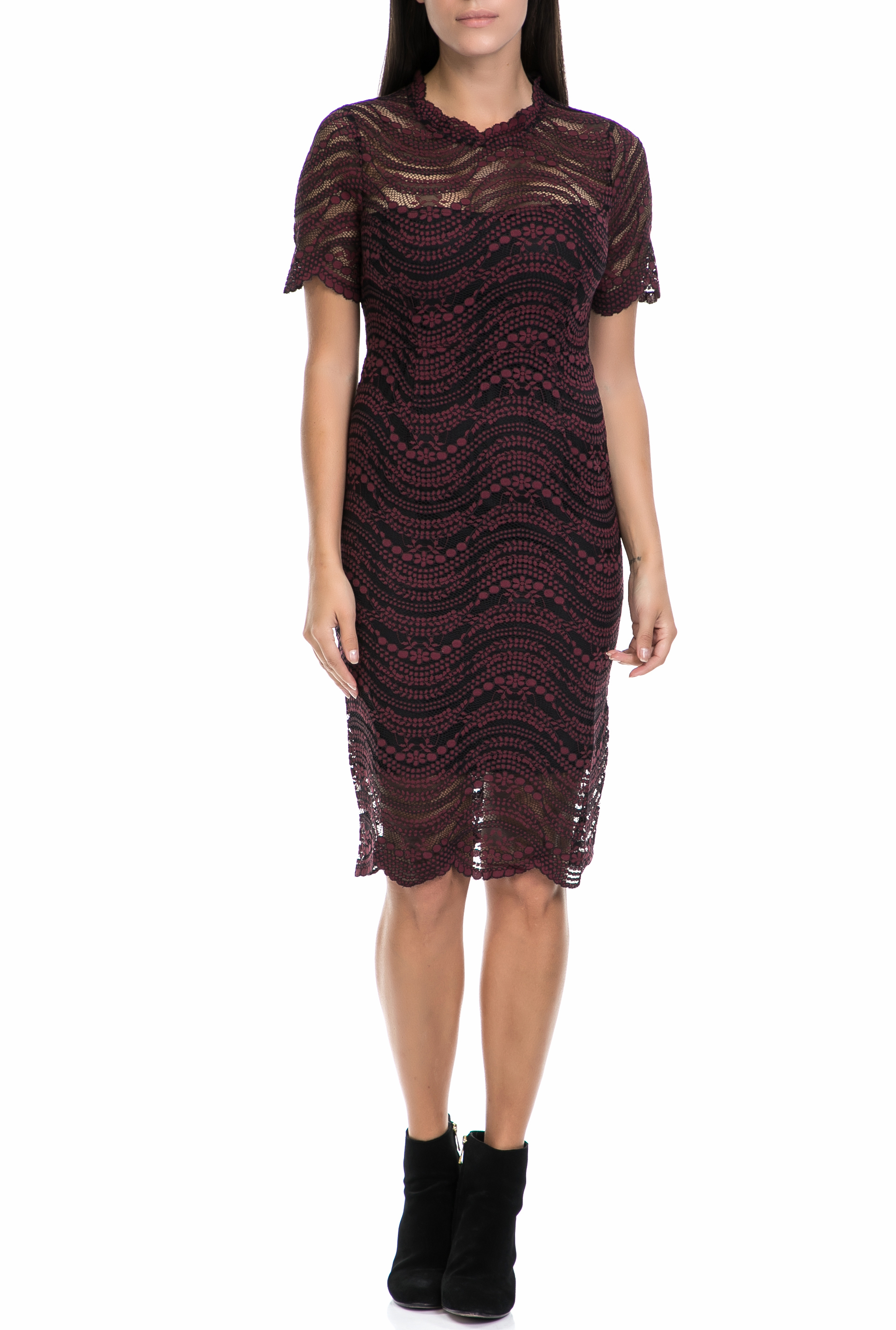 MOLLY BRACKEN - Γυναικείο φόρεμα MOLLY BRACKEN μαύρο-μπορντό γυναικεία ρούχα φορέματα μέχρι το γόνατο