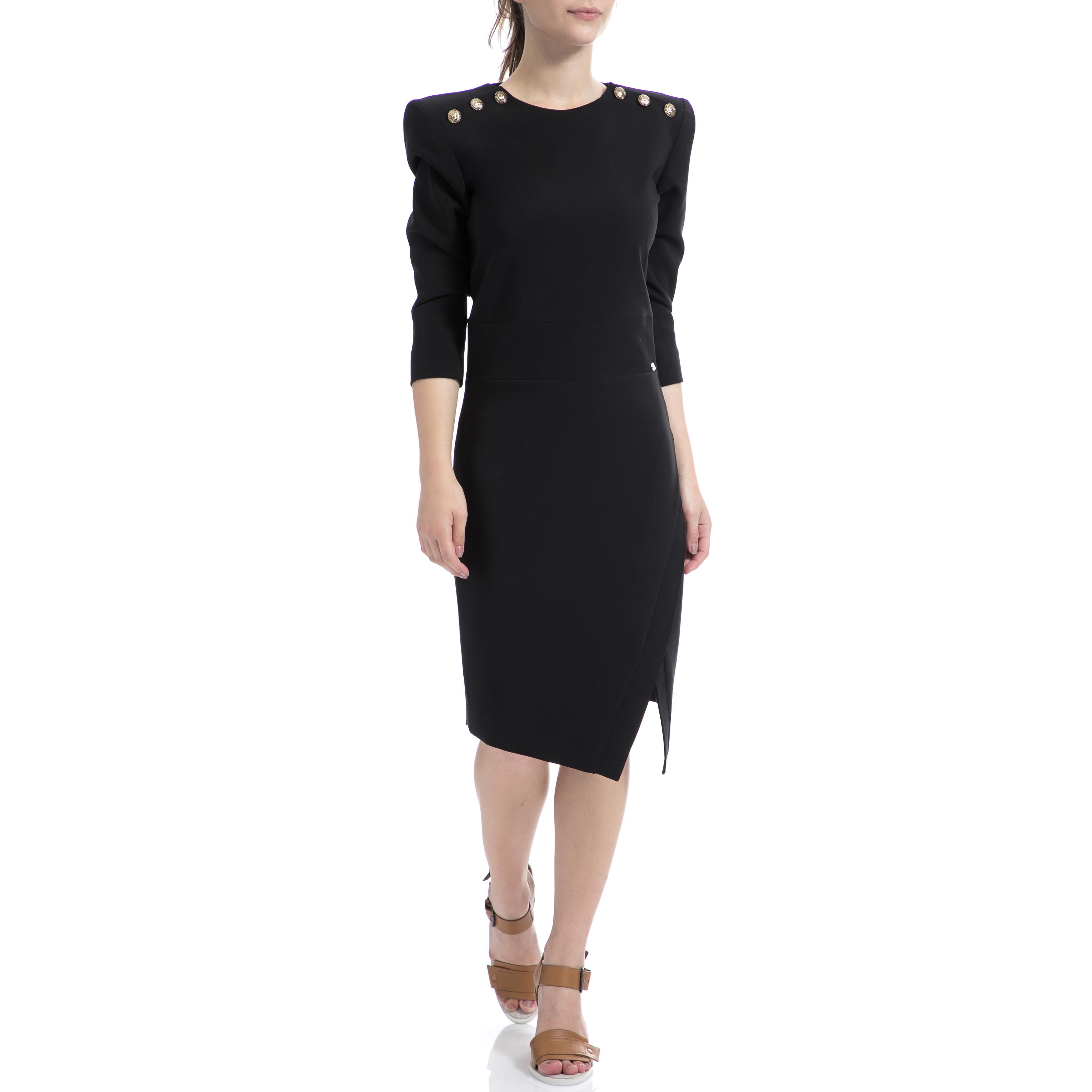 DENNY ROSE - Γυναικείο φόρεμα Denny Rose μαύρο γυναικεία ρούχα φορέματα μέχρι το γόνατο