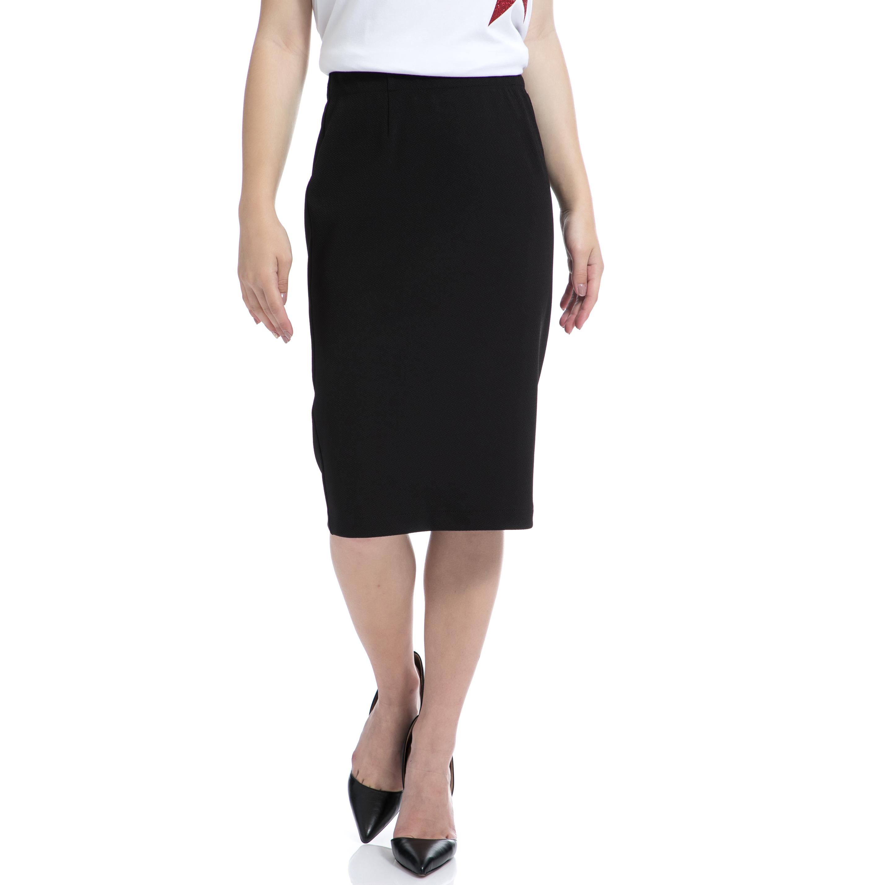 DENNY ROSE - Γυναικεία φούστα Denny Rose μαύρη γυναικεία ρούχα φούστες μέχρι το γόνατο