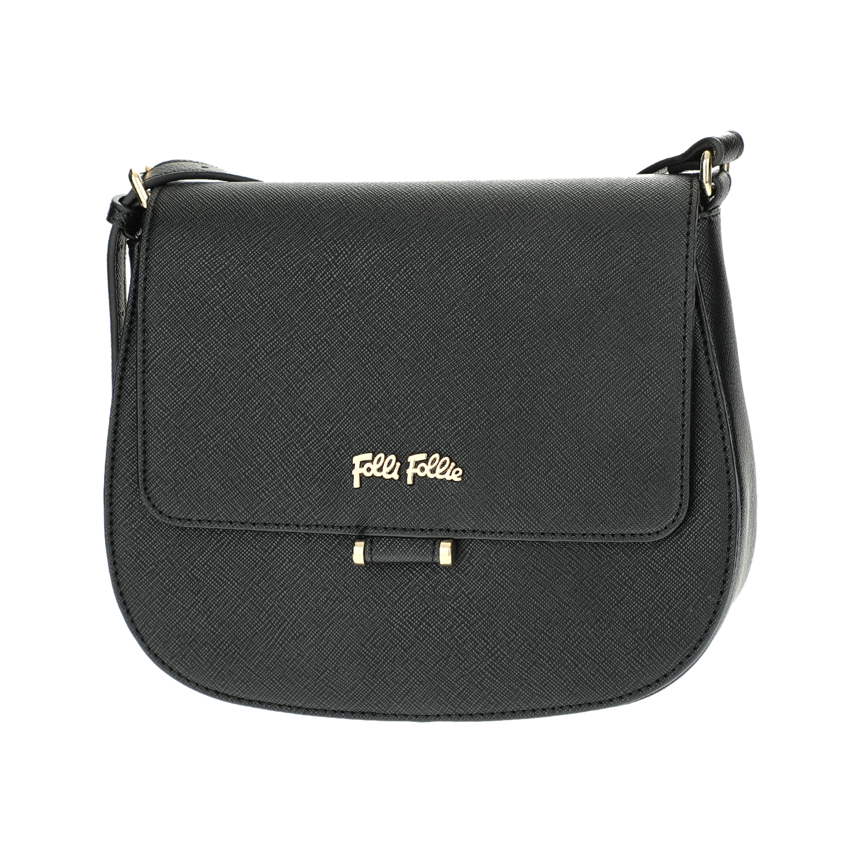 FOLLI FOLLIE – Γυναικεία μικρή τσάντα χιαστί με καπάκι Folli Follie μαύρη 1610537.0-0000