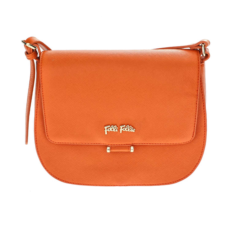 FOLLI FOLLIE – Γυναικεία μικρή τσάντα χιαστί με καπάκι Folli Follie πορτοκαλί 1610540.0-0000
