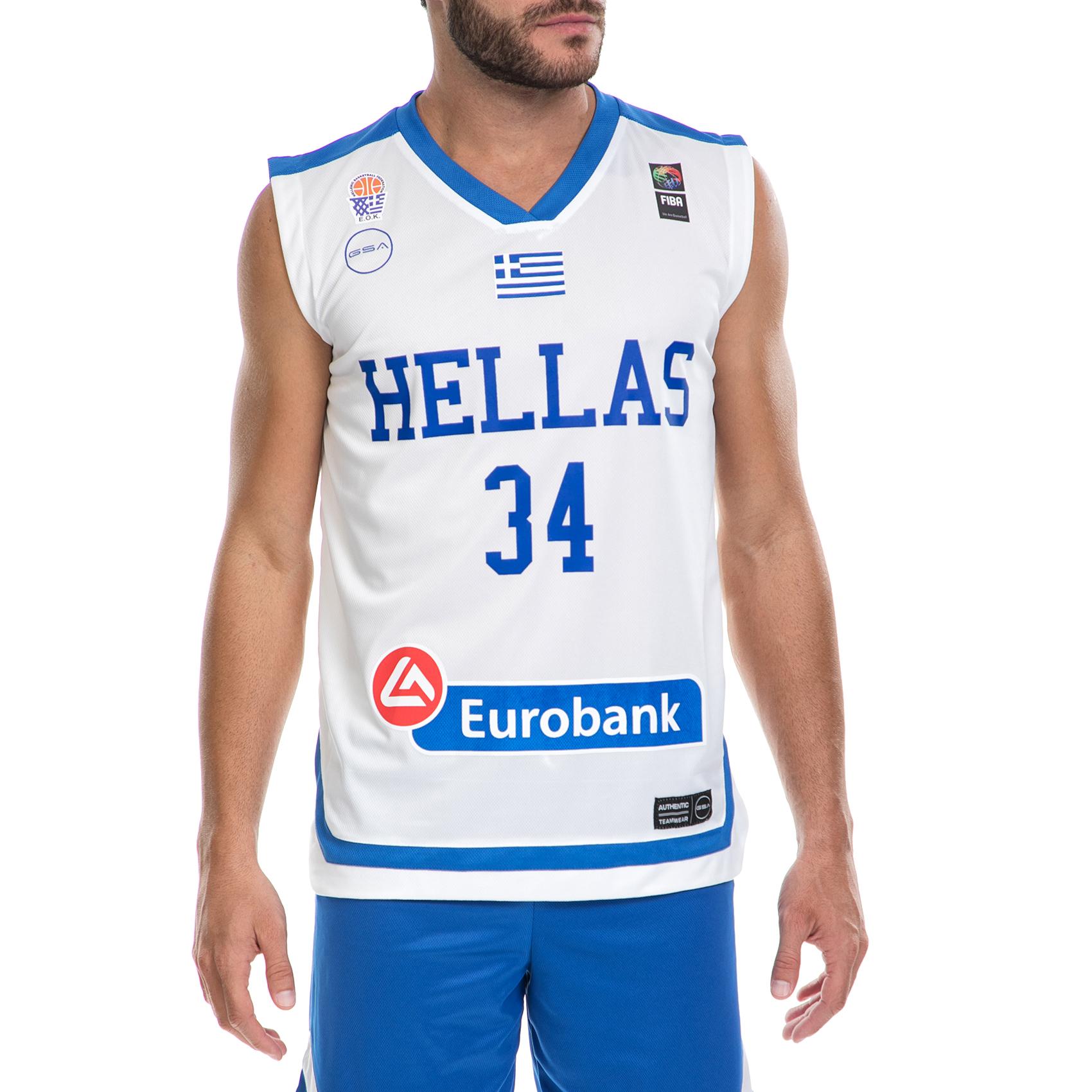 GSA - Ανδρική μπλούζα της Εθνικής Ελλάδος Basket ΑΝΤΕΤΟΚΟΥΜΠΟ Γ. λευκή ανδρικά ρούχα αθλητικά t shirt