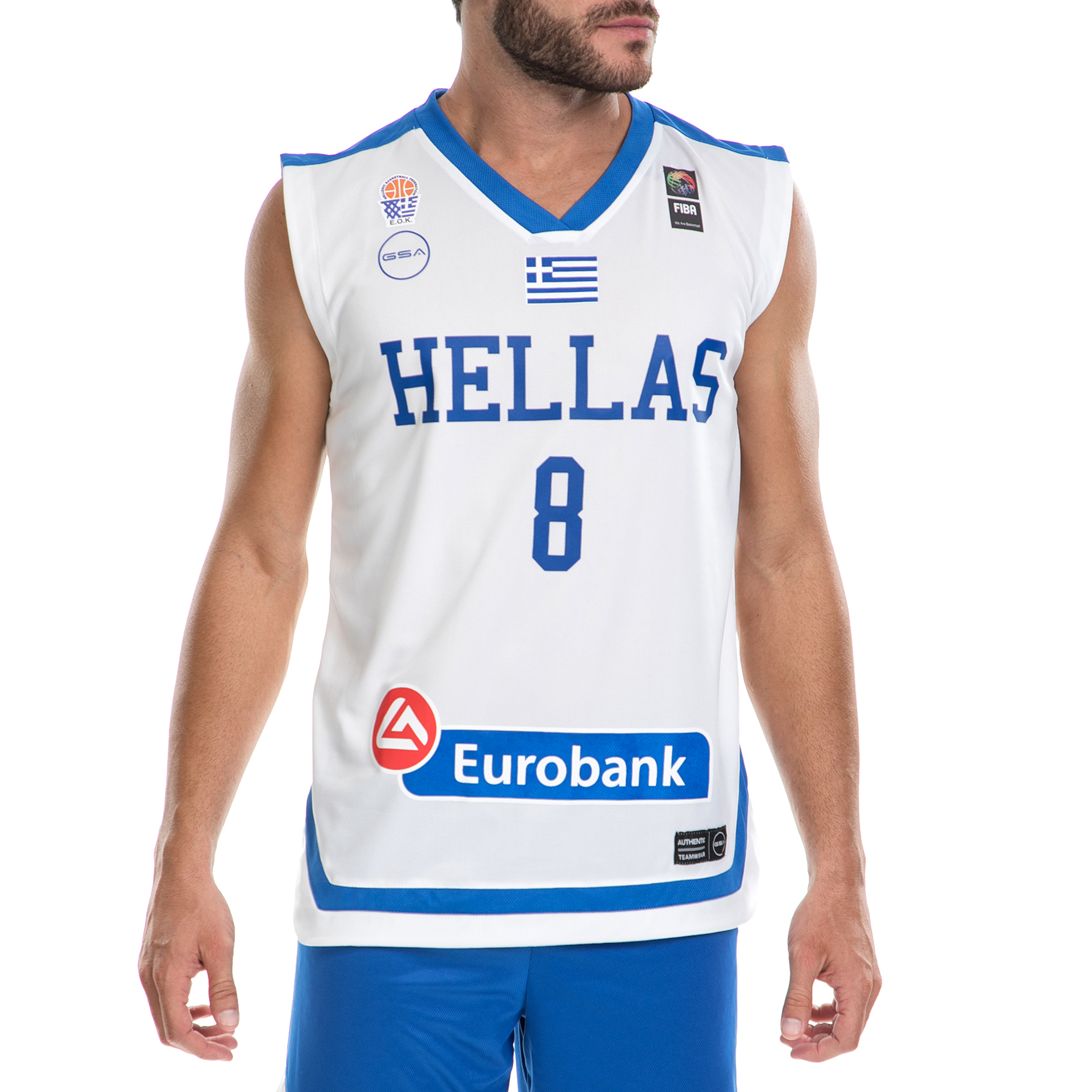 GSA - Ανδρική μπλούζα της Εθνικής Ελλάδος Basket ΚΑΛΑΘΗ λευκή ανδρικά ρούχα αθλητικά t shirt