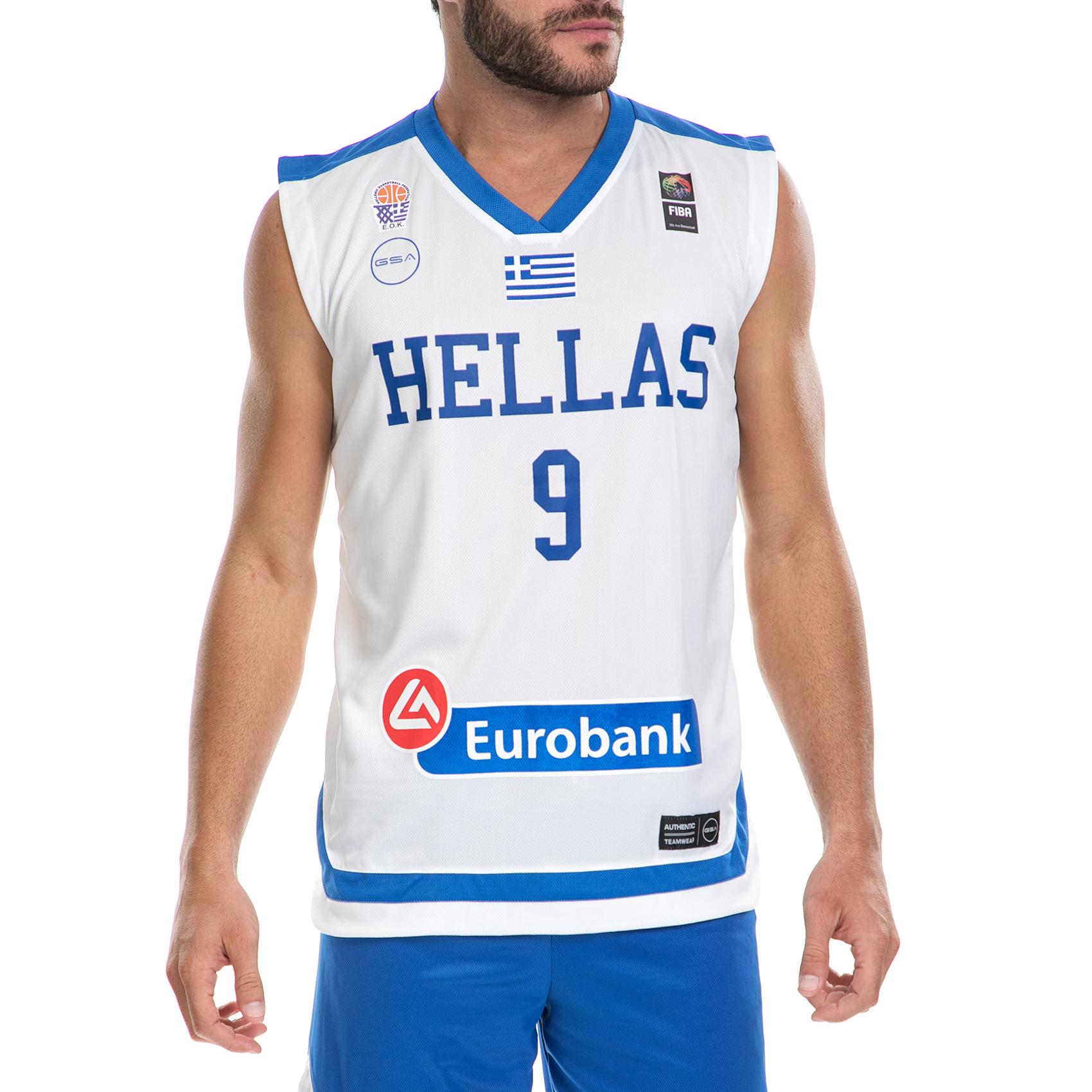 GSA - Ανδρική μπλούζα της Εθνικής Ελλάδος Basket ΜΠΟΥΡΟΥΣΗ λευκή ανδρικά ρούχα αθλητικά t shirt