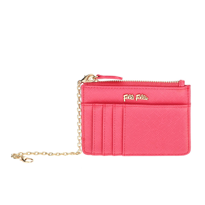 FOLLI FOLLIE - Θήκη κερμάτων και καρτών με αλυσίδα Folli Follie φούξια γυναικεία αξεσουάρ θήκες