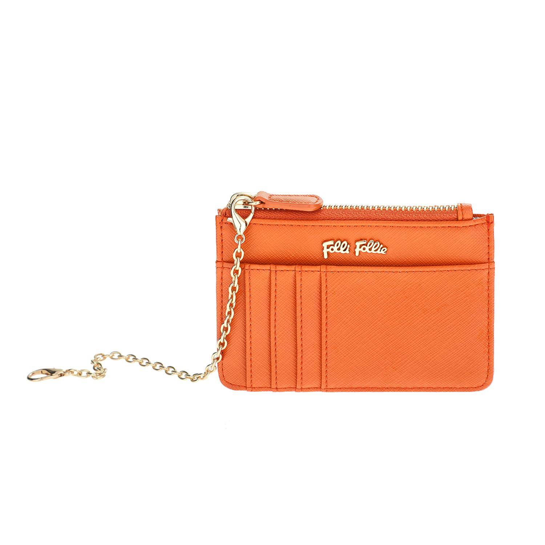 FOLLI FOLLIE - Θήκη κερμάτων και καρτών με αλυσίδα Folli Follie πορτοκαλί γυναικεία αξεσουάρ θήκες