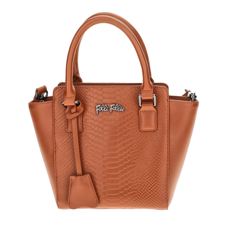 FOLLI FOLLIE – Γυναικεία μικρή τσάντα χειρός με print φιδιού Folli Follie καφέ 1618087.0-0000