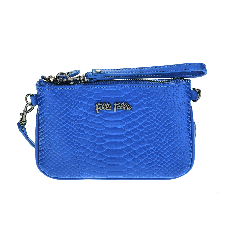 FOLLI FOLLIE – Γυναικείο τσαντάκι χιαστί με print φιδιού Folli Follie μπλε 1618103.0-0000