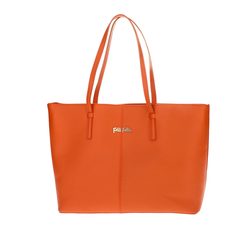 f8ab047f0b FOLLI FOLLIE – Γυναικεία μεγάλη τσάντα ώμου Folli Follie πορτοκαλί. Factory  Outlet