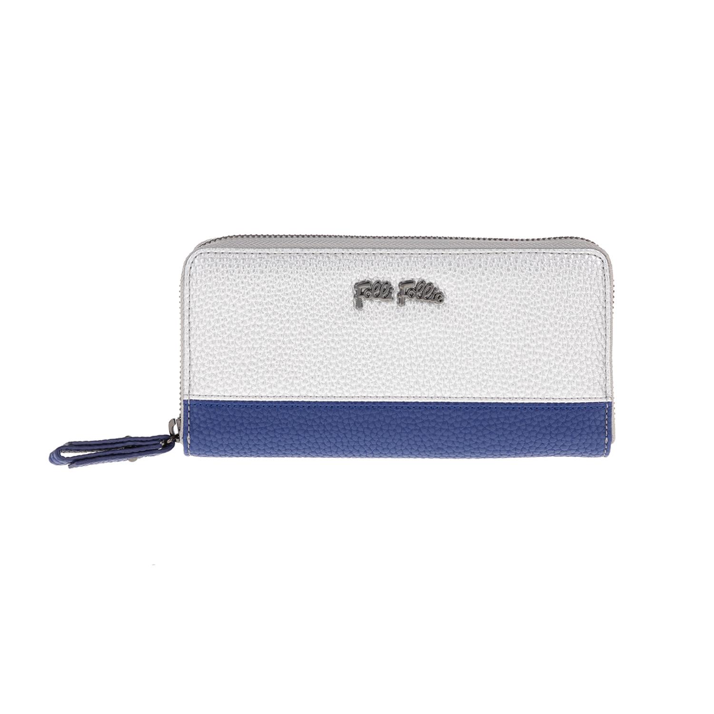 FOLLI FOLLIE - Γυναικείο πορτοφόλι FOLLI FOLLIE ασημί-μπλε γυναικεία αξεσουάρ πορτοφόλια μπρελόκ πορτοφόλια