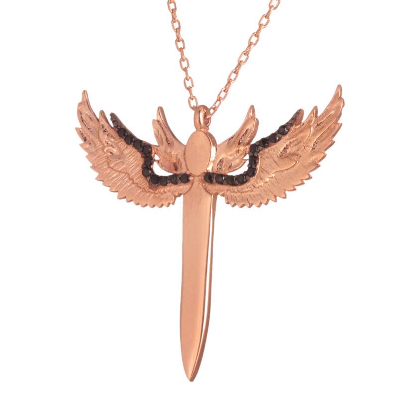 JEWELTUDE – Ασημένιο ρόζ επιχρυσωμένο κολιέ Άγγελος Σπαθί