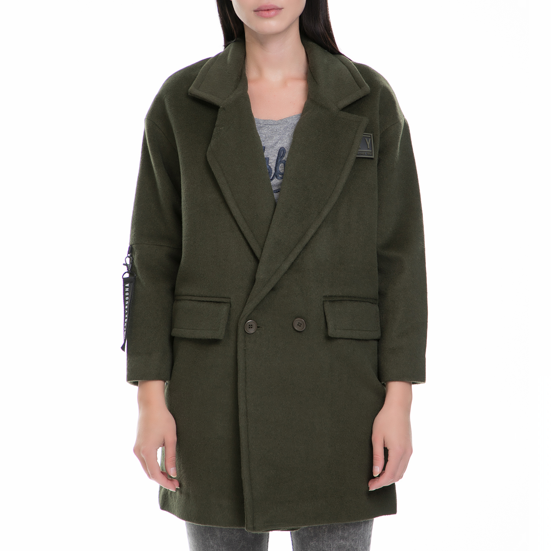 FUNKY BUDDA – Γυναικείο παλτό FUNKY BUDDA χακί