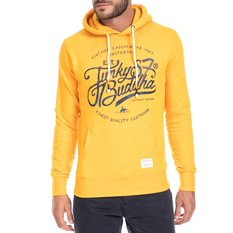 FUNKY BUDDHA - Ανδρική μπλούζα φούτερ FUNKY BUDDHA κίτρινη ανδρικά ρούχα αθλητικά φούτερ μακρυμάνικα