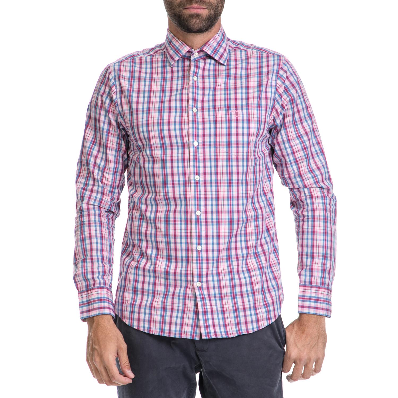 GANT - Ανδρικό πουκάμισο GANT μπλε-λευκό -ροζ ανδρικά ρούχα πουκάμισα μακρυμάνικα