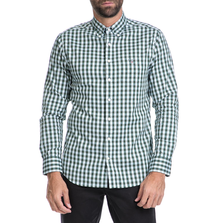 GANT - Ανδρικό πουκάμισο GANT λευκό-πράσινο ανδρικά ρούχα πουκάμισα μακρυμάνικα