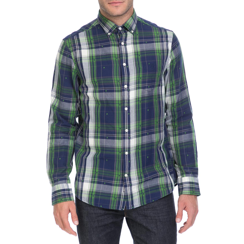 GANT - Ανδρικό πουκάμισο GANT μπλε-πράσινο ανδρικά ρούχα πουκάμισα μακρυμάνικα