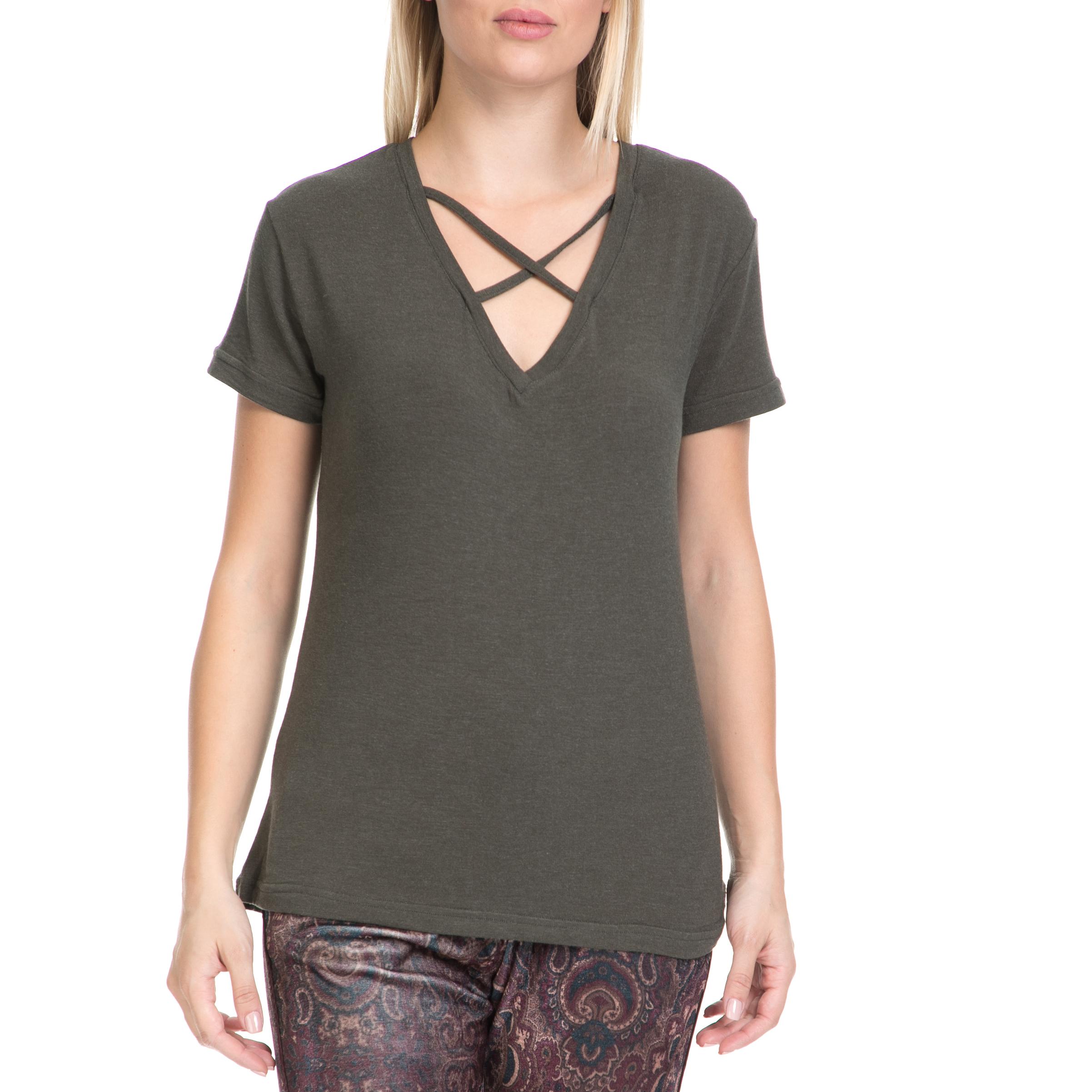 MYMOO - Γυναικείο T-shirt MYMOO λαδί γυναικεία ρούχα μπλούζες t shirt