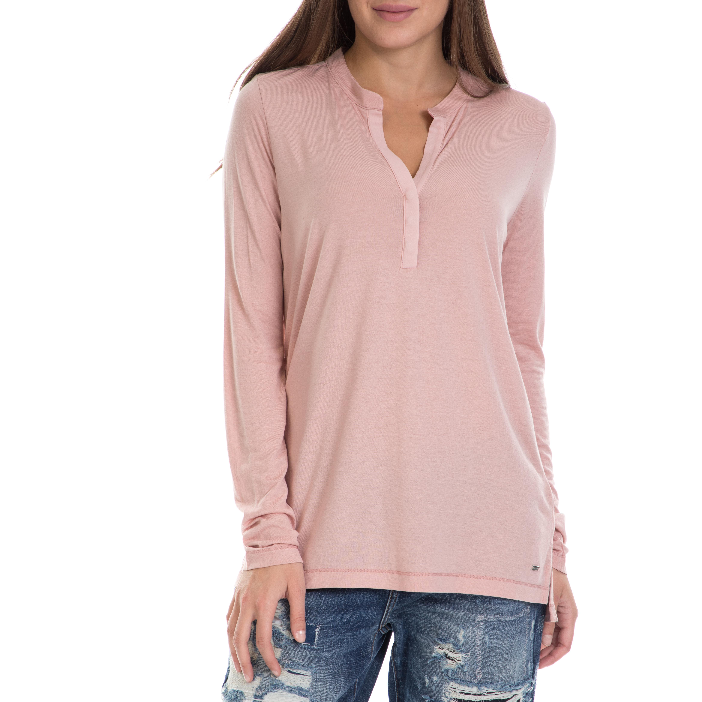 d441b64ed60d TOMMY HILFIGER - Γυναικεία μπλούζα JISSA HENLEY TOMMY HILFIGER ροζ