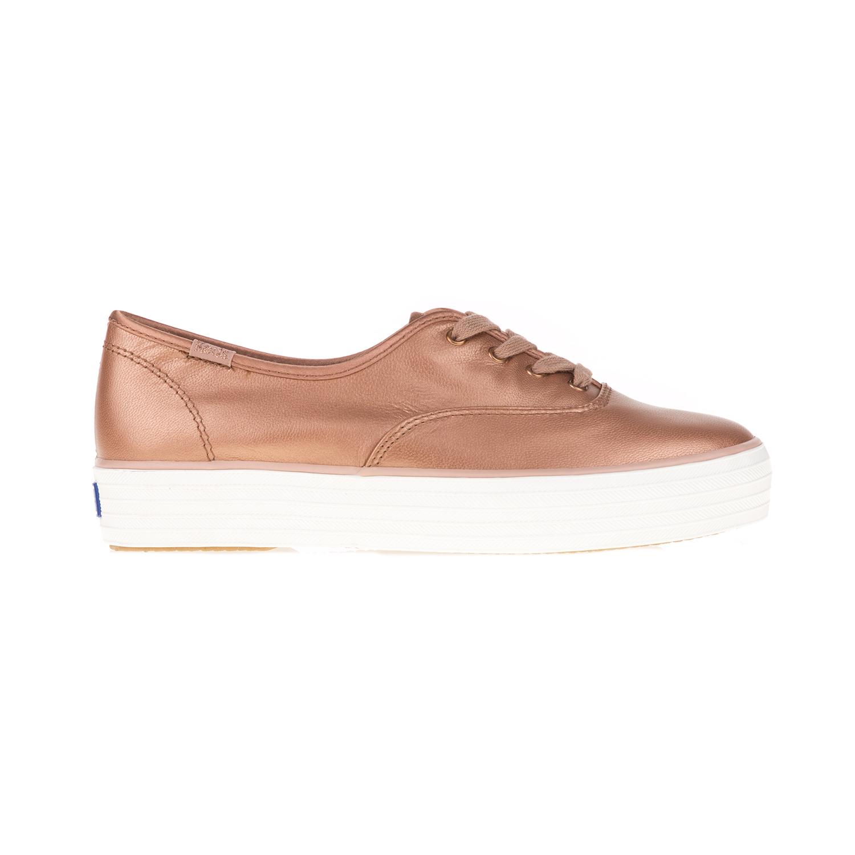 KEDS – Γυναικεία παπούτσια TRIPLE METALLIC LEATHER BESTIE KEDS ροζ χρυσά