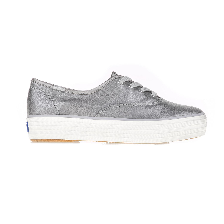 KEDS – Γυναικεία παπούτσια TRIPLE METALLIC LEATHER BESTIE KEDS γκρι ασημί