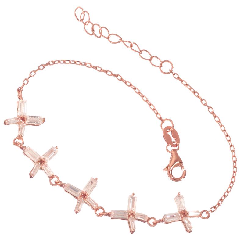 JEWELTUDE – Γυναικείο ασημένιο ρόζ επιχρυσωμένο βραχιόλι σειρέ Χ
