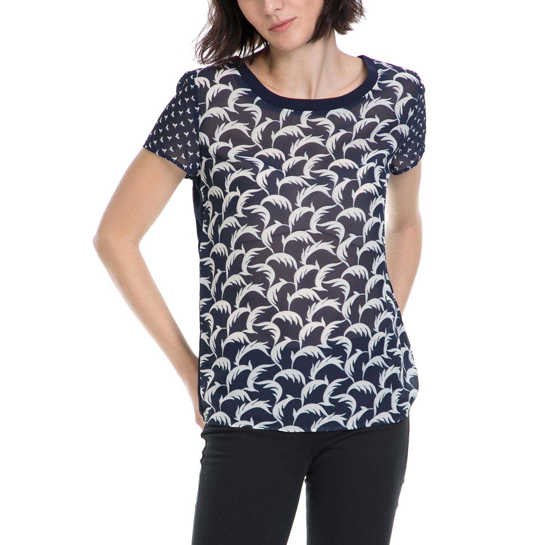 FUNKY BUDDHA – Γυναικεία μπλούζα FUNKY BUDDHA μπλε-λευκή