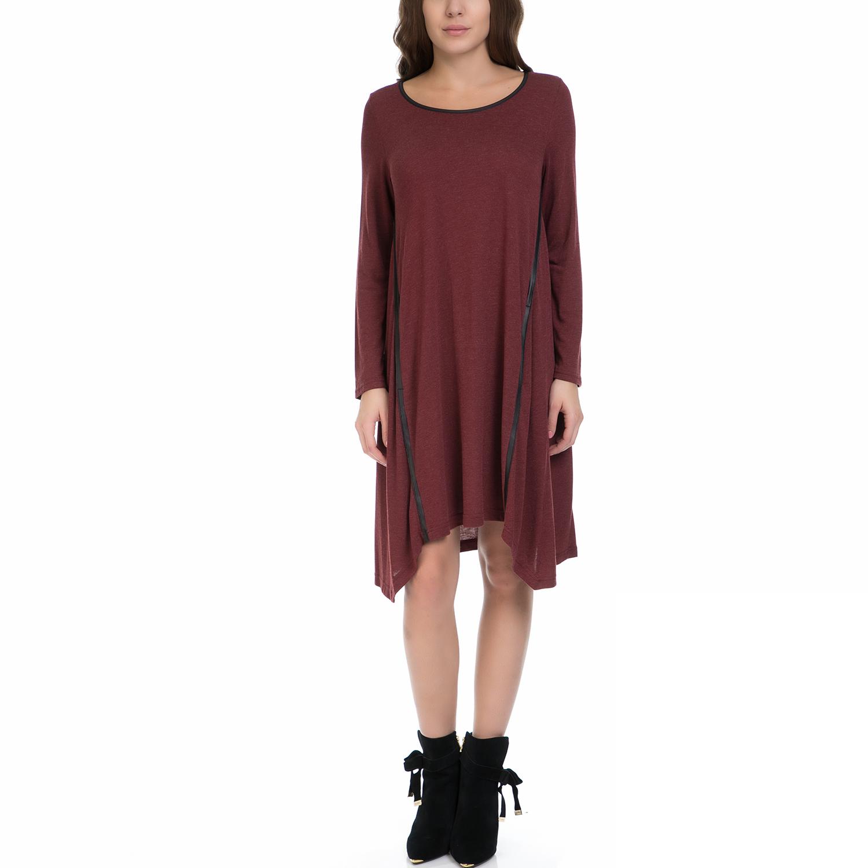 VINTAGE SUGAR - Γυναικείο φόρεμα VINTAGE SUGAR μπορντό γυναικεία ρούχα φορέματα μέχρι το γόνατο