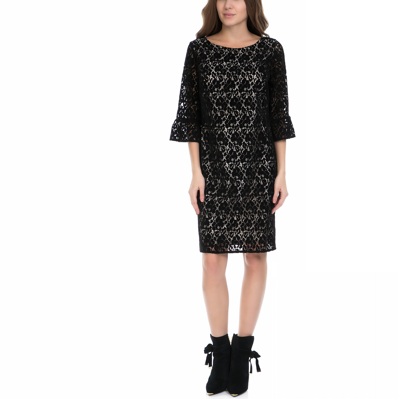 VS - Γυναικείο φόρεμα VS μαύρο-εκρού γυναικεία ρούχα φορέματα μέχρι το γόνατο