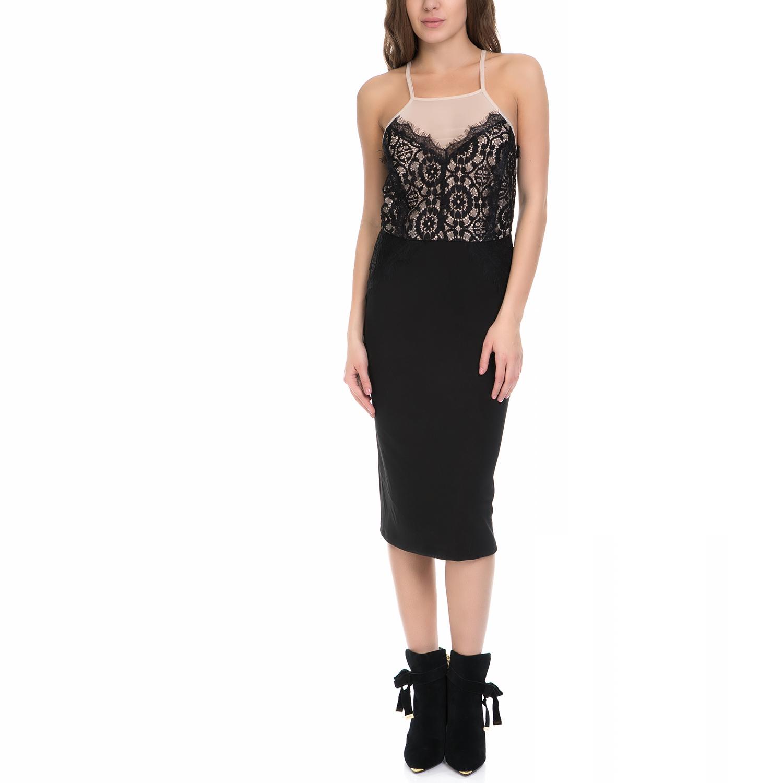MY TIFFANY - Γυναικείο φόρεμα MY TIFFANY μαύρο-μπεζ γυναικεία ρούχα φορέματα μέχρι το γόνατο