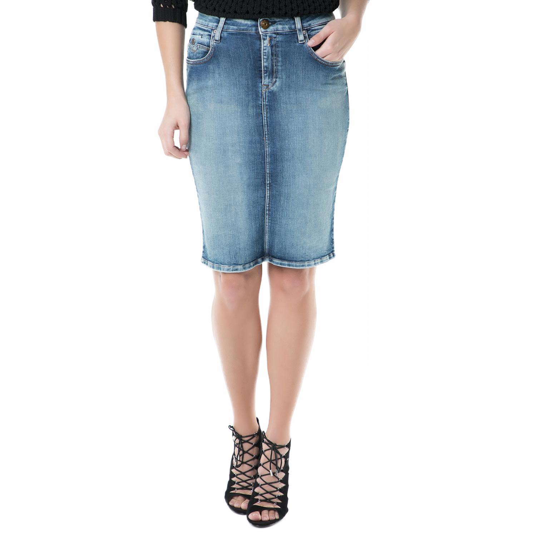 5b988a1aa4de REPLAY - Γυναικεία τζιν midi φούστα Replay μπλε με ξεβάμματα ...