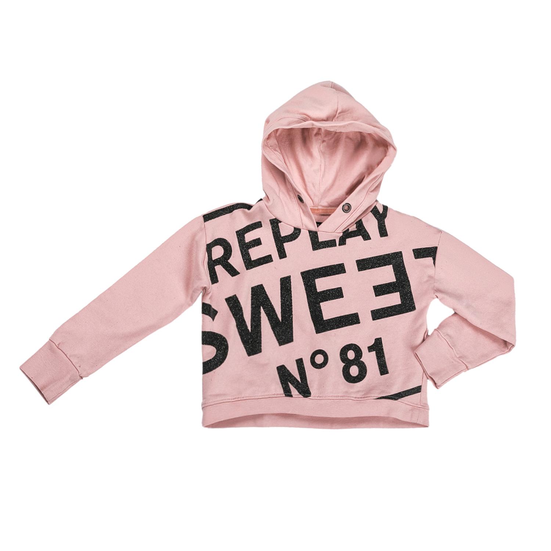 REPLAY – Παιδική μπλούζα με κουκούλα Replay ροζ